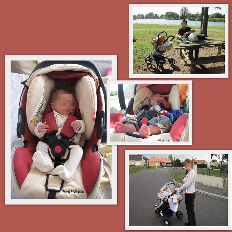 Martin nouveau-né (à gauche), Martin à 2 mois (au milieu), Avec papa (en haut), Avec maman (en bas) en poussette Babyzen Recaro